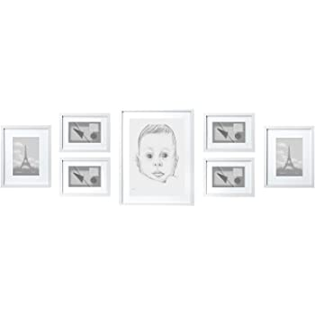 SOLID WOOD Photo Frame Set White - 7 Picture Frames with Mounts ...