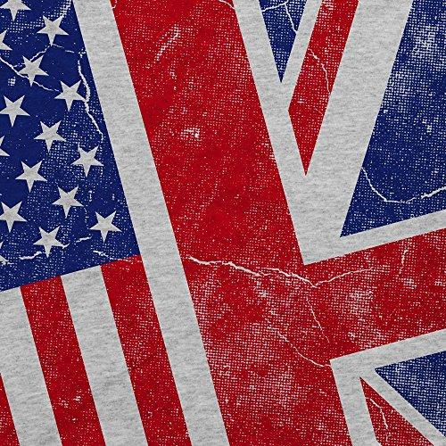 style3 USA Amerika Union Jack Damen T-Shirt Flagge Flag Grau Meliert