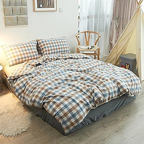 Pure Color Betten Sets–memorecool Haustierhaus 100% Baumwolle gewaschen 4Stück Reactive drucken YKK-versteckter Reißverschluss Mehrere optional Twin, baumwolle, Blue Check and Fitted, Volle Größe
