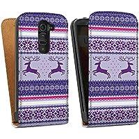 LG G2 mini Tasche Hülle Flip Case Reindeer Rentier Norwegermuster
