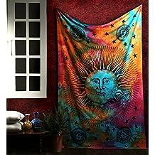 Tapiz Hippie, Psychedelic Tapestry Mandala Wall Hanging, Tapices Sol y Luna Colgar en la Pared, Cubierta del Sofá Por Rajrang