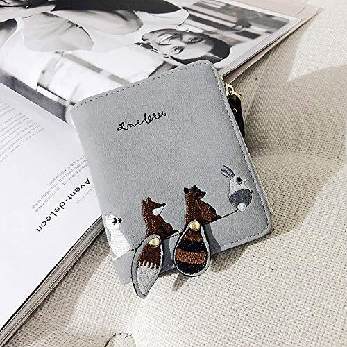 Fyyzg Neue Damen Brieftasche niedlichen Cartoon Mini Geldbörse Schwanz Dekoration - grau