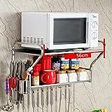 WENZHE Küchenregal Küche Wandregal Ablage Regal Storage Racks An Der Wand Montiert Mikrowelle Halterung Mit Haken Multifunktion Rostfreier Stahl, 2 Schichten, 2 Modelle, 2 Größen