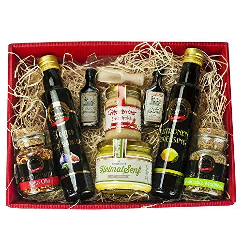 Präsentkorb für Feinschmecker gefüllt |Geschenkkorb für Männer und Frauen | Feinkost-Presentkorb glutenfrei und mediteran -
