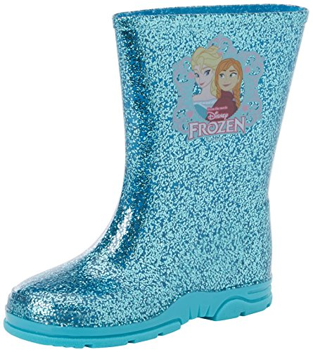 Disney Girls Toddler Frozen Elsa Anna Glitter Winter Wellies Shoes Boots Aqua Blue/Pink Size 6-12
