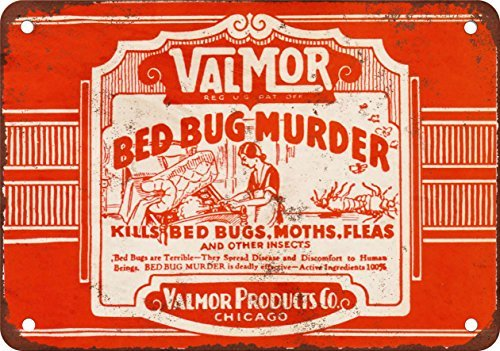 Valmor Bed Bug Murder Poison Reproduction of Vintage Appearance Metal Metal Plate, 12 x 18 Inches