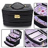 hotrose-Joyero-Pendientes-Collar-Joyas-Organizador-de-pulseras-joyas-caja-de-almacenaje-Negro