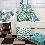 6PC Kissenbezug,FeiliandaJJ Kissenhülle Blau Elegant Decorative Pillowcases Wohnzimmer Sofa Bed Home deko Pillows Cover Super weich Taille Wurf Kissenbezüge 45x45cm (Blau)