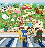 selbstklebende Fototapete - Kinderbild - Bauernhof - 150x100 cm - Tapete mit Kleber – Wandtapete – Poster – Dekoration – Wandbild – Wandposter – Wand – Fotofolie – Bild – Wandbilder - Wanddeko