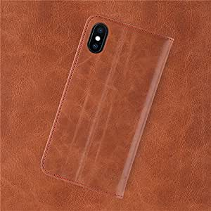 iATO iPhone X/XS Saddle Brown Leather Book Case - Premium Protective Genuine Cowhide Wallet Cover - Stylish Folio Flip Accessory Designed for iPhone X (2017) / XS (2018) | Supports Wireless Charging