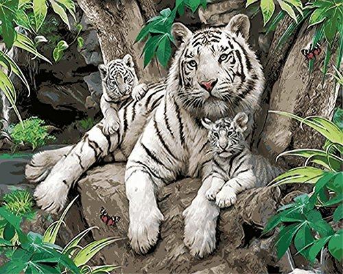 obella Malen nach Zahlen Kits || Tiger Mutter und Tiger Baby weiß 50x 40cm || Malen nach Zahlen, DIGITAL Ölgemälde, (Mutter Natur Kit)