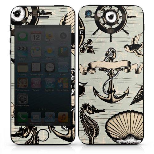 Apple iPhone 5 Case Skin Sticker aus Vinyl-Folie Aufkleber Anker Seefahrer Meer DesignSkins® glänzend