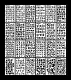 Lot de 24Lettre Nombre Pochoirs lettres de l'alphabet Pochoir pour Bullet Journal Fournitures DIY Scrapbooking Peinture Dessin Craft Accessoires 4× 17,8cm