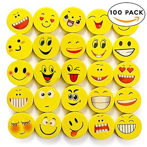 THE TWIDDLERS 100x Emoji & Smiley Radiergummi in 6 Verschiedenen Designs – Ideal als Partyzubehör...