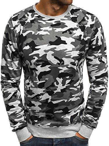 OZONEE Herren Sweatshirt Langarmshirt Sweatjacke Motiv Pullover Prints Camouflage Pulli J.Style DD129-20 M GRAU