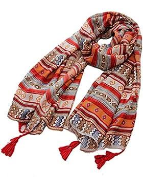 FLYRCX La primavera y el verano de algodón con flecos bufanda franja de color multifunción dama 180cmx90cm mantón