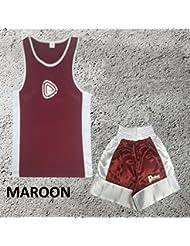 Garçons - Ensemble uniforme de boxe 2 pièces (haut & short) - 9-10 ans, Bordeaux