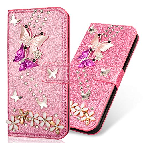 Slim Retro Bookstyle für Samsung A50,Bling Glitter Glitzer Diamond Lips Musterg Ledertasche Stand Funktion Karteneinschub Magnetverschluss Flip Wallet Hülle Schutzhülle