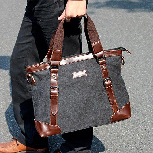 Outreo Borsa Tracolla Uomo Borse a Spalla Portadocumenti Laptop Borsello Vintage Tela Borsetta Sacchetto Messenger Bag Ventiquattrore per Studenti Tasca Sport Tasche Canvas Nero