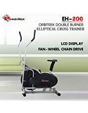 Powermax Fitness Elliptical Cross Trainer EH-200 Orbitrek Exercise Cycle and Elliptical Cross Trainer with Hand Pulse, Comfortable Seat and Smart LCD Display