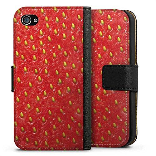 Apple iPhone X Silikon Hülle Case Schutzhülle Erdbeere Strawberry Sommer Sideflip Tasche schwarz