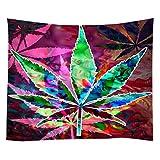 Violetpos Tapestry Indian Wandbehang Bettlaken Tapissery Tagesdecke Strand Decke Hippie Wand Hängende Dekor Psychedelisches Marihuana lässt Hanfblatt 150x200 cm