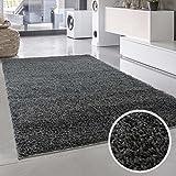 Shaggy-Teppich, Flauschiger Hochflor Wohn-Teppich, Einfarbig/Uni in Dunkelgrau für Wohnzimmer, Schlafzimmmer, Kinderzimmer, Esszimmer, Größe: 150 x 150 cm Quadratisch