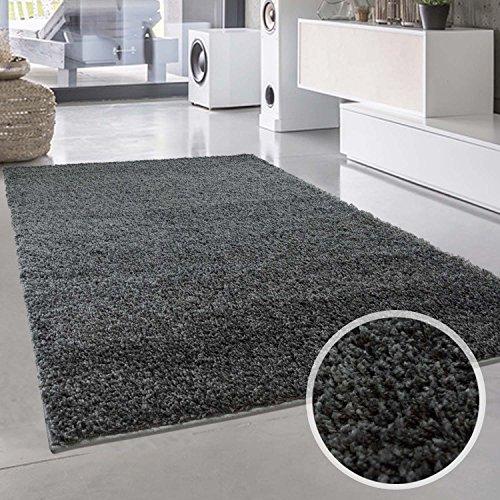 Shaggy-Teppich, Flauschiger Hochflor Wohn-Teppich, Einfarbig/Uni in Dunkelgrau für Wohnzimmer,...