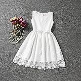 Ropa de niñas, Morbuy Encaje Hueco Vestidos de Fiesta de Princesa Super Lindo Diseñador de Moda Vestidos de Niñas para el partido Boda Pompa (130, Blanco)
