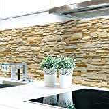 Küchenrückwand Steinwand Hell Premium Hart-PVC 0,4 mm selbstklebend 220x51cm