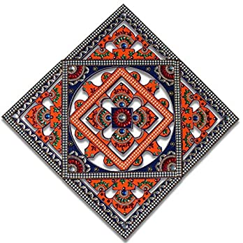 Mandala Tapestry Inspired Diwali Rangoli Kit for Floor Decorations | 42 cm 17″ Large Handmade Wooden Home Decor Design in 5 Complimentary Pieces with Vibrant Colours