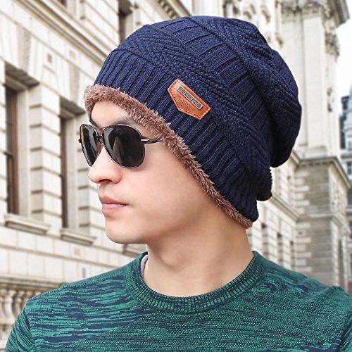 FQG*Men's Winter hat hat tricot tricot automne hiver hat corée jeunes tête kit Baotou cap , kaki mâle Bleu marine