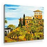 Mia Morro Mediterran Toskana Bild A480, 1 Teil 80x80cm Leinwand auf Holzrahmen aufgespannt, FineArt Print, UV-stabil und wasserfest, Kunstdruck für Büro oder Wohnzimmer, Deko Bild