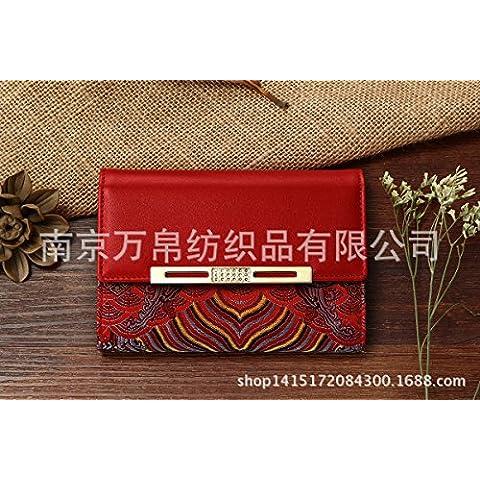 Da donna in pelle di seta corto brocade purse (Seta Zipper)