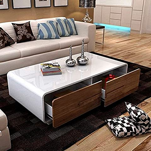 OSPI® Living Room Furniture High Gloss White Coffee Table with 4 Big Walnut Colour Storage Drawers Space Saver