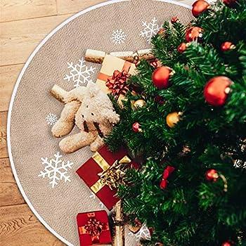 PROTAURI Weihnachtsbaum Rock Baum Matte 48 Zoll Red Letter Schneeflocke Alphabet Base Cover Dekoration Baum Teppich Neujahr