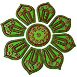 Anaya Industries Acrylic Jewel Stone Work Rangoli (26 Cm X 26 Cm X 1 Cm, Green)