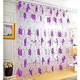 prosperveil Große Blume Tüll Blackout Vorhänge Fenster drapieren für Schlafzimmer Dekor (lila)
