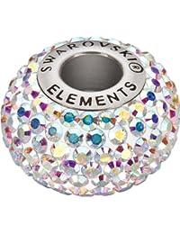 Grand Trou Perles de Verre a enfiler de Swarovski Elements 'BeCharmed Pave' 14.0mm (Crystal-AB, Acier affiné), 12 Pièces