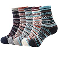 esenfa winter warm casual knit wool socks for men 5 pairs