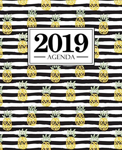 Agenda 2019: 19x23cm: Agenda 2019 settimanale italiano: ananas su strisce bianche e nere 6279