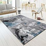 T&T Design Designer Teppich Modern Arizona Leinwand Optik in Grau Türkis Schwarz Meliert, Größe:160x230 cm