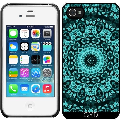 Hülle für Iphone 4/4S - Teal Mandala Elegante Blumen by Nina Baydur (Iphone 4 Fälle, Teal)
