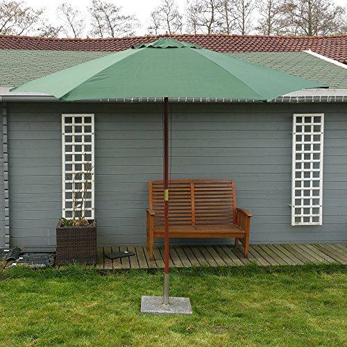 Land Mittel-wandhalterung (Land-Haus-Shop® Sonnenschirm 3m, Landhausschirm 3 Meter, Marktschirm 300cm Hartholz, Schirm grün)