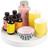 mDesign Lazy Susan plateau tournant en plastique pour épices, aliments, etc. – accessoire de rangement pour placard, armoire,