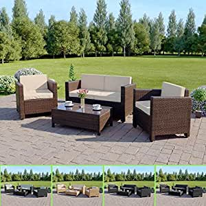 Abreo Garden Rattan Furniture Patio Set 4 Seater Outdoor Conservatory Sofa Armchair Coffee Table Roma New (Brown)