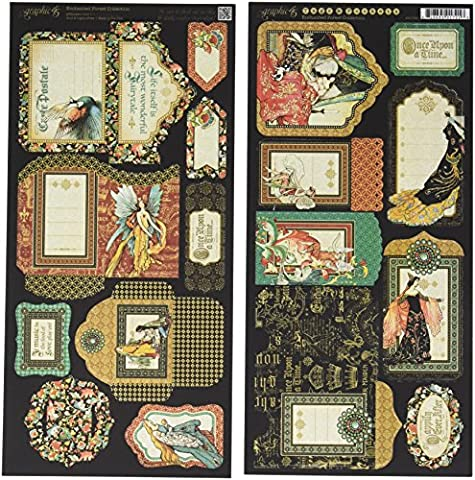 Graphic 45 Enchanted Forest Cardstock Die-Cuts 6-inch x 12-inch Sheets -Tags and Pockets,