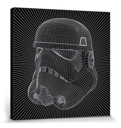 Star Wars - Stormtrooper, Modelo 3D Cuadro, Lienzo Montado Sobre Bastidor (60 x 60cm)