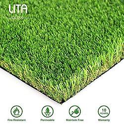 LITA Premium 35 mm Florhöhe Kunstrasen-Matte Realistische und dicke Kunst-Gras-Matte, für den Außenbereich, Garten, Haustiere, Kunstrasen, Teppich mit Gummi-Rückseite, mit Drainagelöchern, 1mx3m