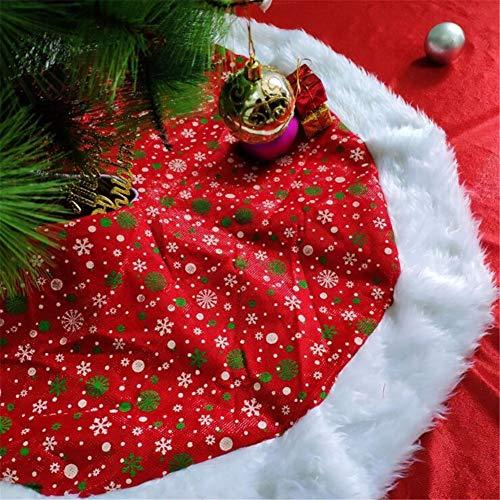 Christmas Tree Skirts Red Printed Short Plush Tree Rock Fur Carpet Frohe Weihnachtsdekation Für Zu Hause Burgund Traditionelle Rote Und Weiße Schneeflocken Baum Rock,48Inch -